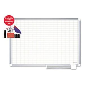 Mastervision 72 X 48 In Grid Planning Dry Erase Board With Accessories