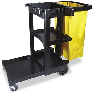 Rubbermaid Cleaning Cart W zippered Bag Black 3 Shelves