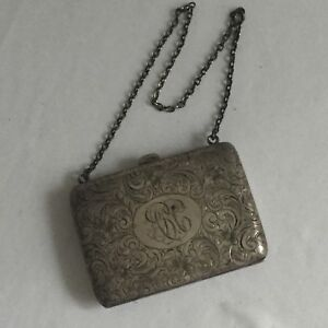 Watrous Sterling Silver Antique Ornate Purse W Chain Handle Hallmarked