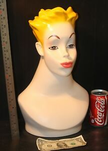 Female Mannequin Head Bust Vintage Wig Hat Jewelry Display Dramatic Pop Art