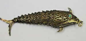 Antique Vintage Filigree Articulated Sterling Silver Chinese Fish Pendant