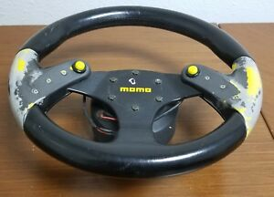 Momo F1 Concept 320mm Steering Wheel Dual Nos Button Black Leather Racing Jdm