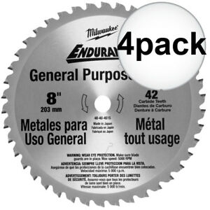 Milwaukee 48 40 4515 4pk 8 42 Tooth Metal Cutting Saw Blade New