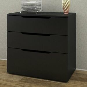 Nexera Next 3 Drawer File Cabinet Black