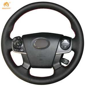 Black Leather Steering Wheel Cover Wrap For Toyota Camry 2012 2015 ft02