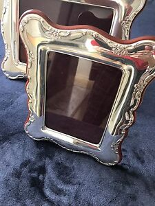 Two 2 Large Sterling Silver Photo Frames