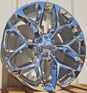 22 Chrome Chevy Snowflake Sty Wheels Ck156 2015 Silverado Rims Gmc Sierra 1500