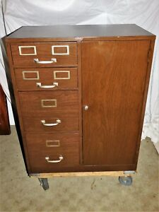 Vintage Cole Steel Filing And Storage Cabinet Grain Painted W key