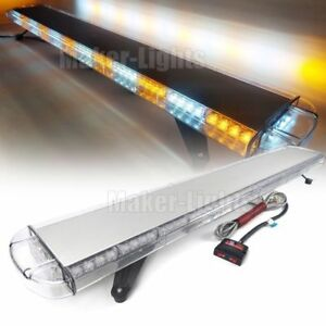 55 Light Bar Led Strobe Warn Emergency Tow plow Wrecker Truck Roof Amber White