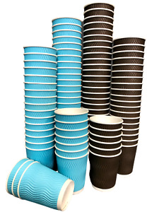 Ripple Wall Paper Cups Strong 8oz Blue Brown Black Coffee Cups Hot Drinks