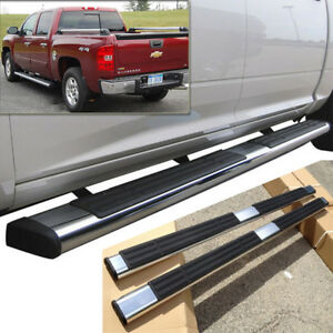5 Silver Side Step Nerf Bars For 99 13 Silverado sierra Extended double Cab