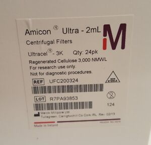 Millipore Amicon Ultra 2ml Centrifugal Filters Ultracel 3k 24pk Ufc200324