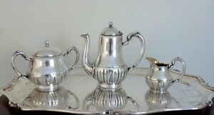 Christofle Antique Silverplated Art Nouveau Tea Coffee Set 3 Pcs