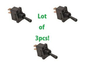 3pc Lot Spst Toggle Switch On off 2pin 20 Amp 120v 240v Ac Panel Qc Black 20a