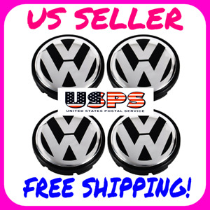 Volkswagen Center Caps Vw Jetta Beetle Passat Touareg Tiguan Cc Black Chrome 4x