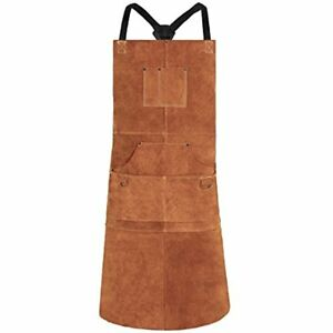Leather Welding Apron Heat Flame resistant Heavy Duty Work With 6 Pockets
