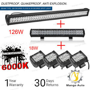 42inch Led Light Bar Combo 22in 4 Cree Pods Offroad Suv 4wd Atv Ford Jeep 40