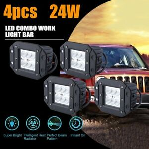 4x 24w Cree Flood Led Cube Pods Work Light Flush Mount Offroad Truck Jeep Square