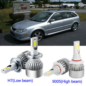 4x Car H7 9005 Hb3 Led Headlight Kit Light Bulb For Mazda Protege 5 2003 2002