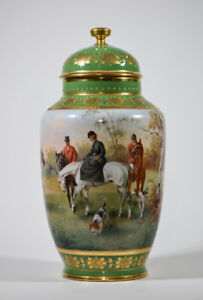 Vienna Covered Urn With Hand Painted Fox Hunting Scenes Ca 1880 Artist Signed