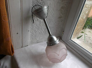 French Antique C 1930 Art Deco Ceiling Light Nicely Pink Frosted Glass Shade