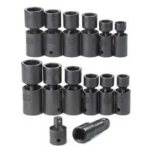 Craftsman Industrial 14 Pc 6 Pt 1 2 Drive Inch Metric Impact Swivel Socket Set
