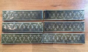 Antique Lot Of 6 Ae Tile Co Ltd 6 Green W Design Victorian Style Fireplace Tile