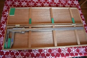 Large Mitutoyo Vernier 30 Caliper Precision Machinist Tool In Wood Box Nice