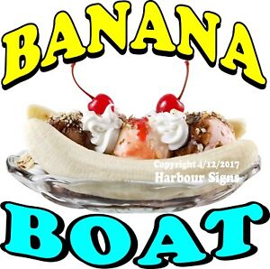 Banana Boat Decal choose Your Size Split Ice Cream Food Truck Concession