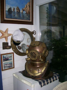 Morse Us Navy Mark V Diving Divers Helmet Solid Antique Full Size 18 Copper