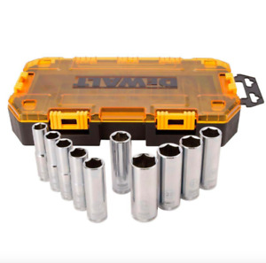 Dewalt 1 2 Inch Drive Deep Socket Set 10 Piece Sockets Metric Hand Tool 6 Point