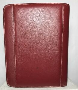 Franklin Covey Planner Binder Zip 7 Ring Pebbled Leather Burgundy Red 8 10 5 P
