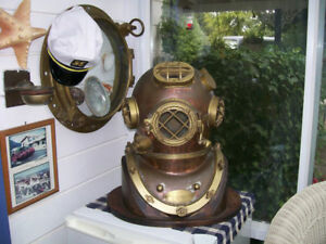 Vintage Brass Copper Diving Helmet Table Divers Decor Scuba Sca Us Navy Mark