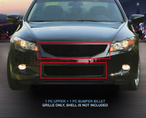 Black Billet Grille Front Grill Combo Fits 2008 2009 2010 Honda Accord Coupe
