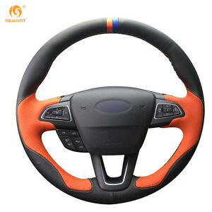Black orange Leather Steering Wheel Cover For Ford Focus 3 Kuga Escape 2016 18