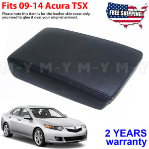 Fits 2009 2014 Acura Tsx Leather Center Console Lid Armrest Cover Skin Black