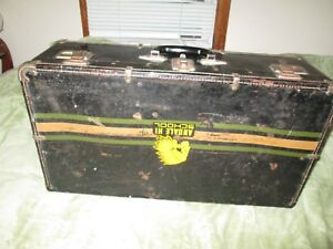 Vtg Indian Hi School Metal Trunk Suitcase Luggage Case Antique 28 X 15 X 9