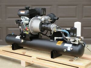 Gas Powered 30 Cfm Direct Drive Rotary Screw Air Compressor With Air Tank
