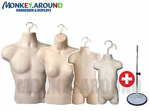 9 Pcs Mannequin Female Male Child Toddler Stand Hanger Display Clothing Flesh