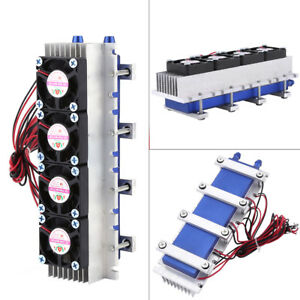 12v Quad core Thermoelectric Peltier Air Cooling Device Cooler 4 tec1 12706 Hby