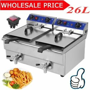 3 3kw Electric Countertop Deep Fryer Dual Tank Commercial Restaurant 26 Liter Vp