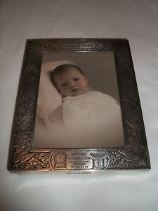 Vintage Sterling Silver Stork Baby Birth Arrival Announcement Photo Frame