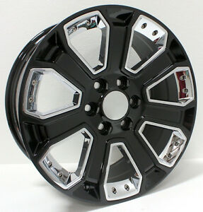 New 22 Inch Gloss Black W Chrome Inserts Wheels Rims Chevy Silverado Z71 Tahoe