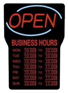 Royal Sovereign Neon Led Open Sign With Hours Electric Open Sign Advertisement