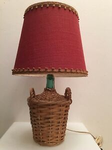 Lamp Cylinder Glass Wicker Vintage Years 60 70 Design