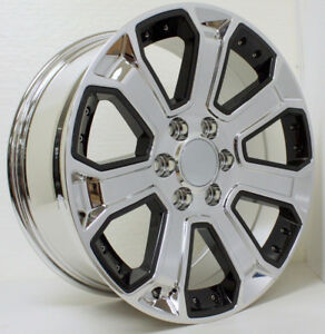 22 Chrome With Black Inserts Wheels Rims Fit Chevy Silverado Z71 Tahoe Suburban