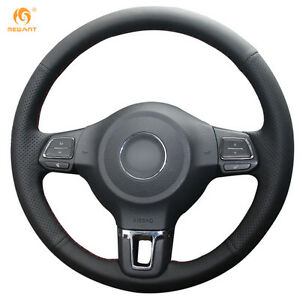 Leather Steering Wheel Cover For Vw Golf 6 Mk6 Jetta 6 Polo 2011 2014 Dz15