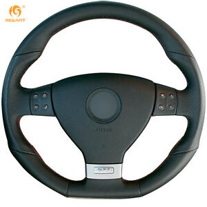 Leather Steering Wheel Cover For Vw Golf 5 Mk5 Gti Golf 5 R32 Passat R Gt Dz16
