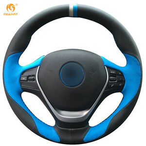 Black blue Steering Wheel Cover For Bmw F20 F45 F30 F31 F34 F32 F33 F36 2014 17