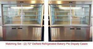Set 2 6 Bakery Display Pie Cases Refrigerated See through Glass back Diner